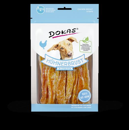 DOKAS Hühnerbrust in Streifen für Hunde